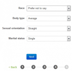 The gender settings when registering on Amigos.com