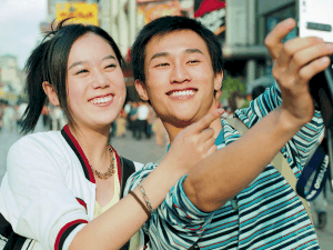 Asian couple having a selfie together