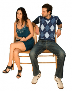 A couple showing signs of bad body language