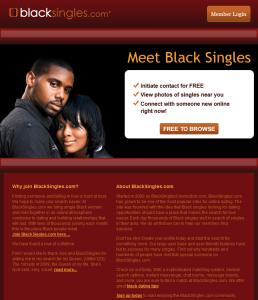 The homepage of BlackSingles