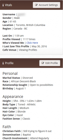 Christian Cafe profile page