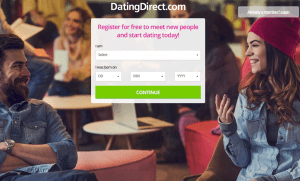 The homepage of DatingDirect