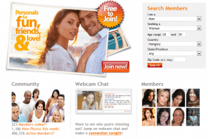 The homepage of FriendFinder