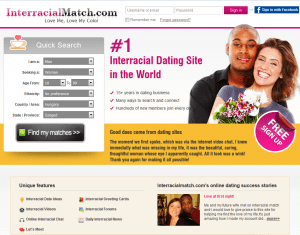 The homepage of InterracialMatch
