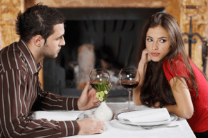 A woman finding her date not good enough
