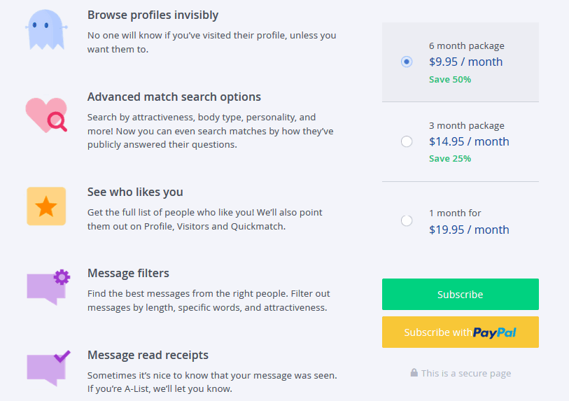 dating website pricing