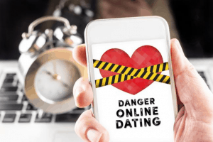 A mobile showing a danger sign of online dating