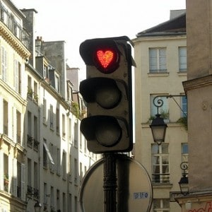 A romantic traffic light in a city