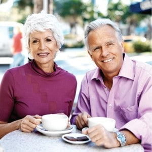 Senior couple enjoying a coffee together