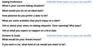 Senior FriendFinder profile questions
