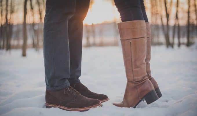 Couple taking a walk in the snow