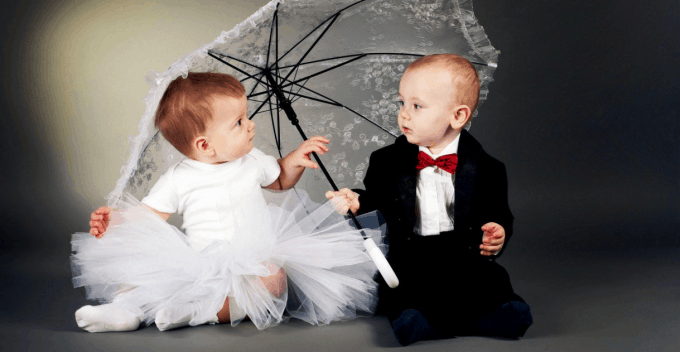 Cute toddler couple in dress