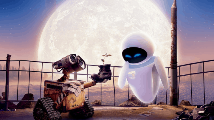 Wall-e offering a flower to Eva as a symbole of love